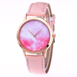 Lover Women Quartz Watch Pink Starry Sky Space PU Leather Strap Wristwatch Birthday Gifts For Girl LL17