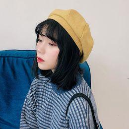 4587fe430543b Hat Female 2018 Women s Girls Beret Winter Beanie Hat Warm Womens Berets  Elegant French Artist Warm Wool Beret Black Khaki Beige