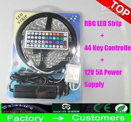 Wholesale Boxes Packaging Australia - Led Strip Light RGB 5M 5050 SMD 300Led Waterproof NONwaterproof + 44Key Controller+ 12V Power Supply With Box Retail Package Christmas Gifts