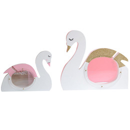 money piggy bank toys UK - INS Wooden Decoration Figurines Pink Swan Bank Coin Money Box Kids Room Decor Piggy Bank Kid Toy Gifts Crafts