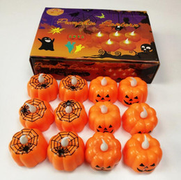 $enCountryForm.capitalKeyWord Australia - 24PCS Classic Candle Lantern Indoor LED Durable Pumpkin Design Small Candle Lamp for Festival Party Supplies Christmas Halloween Decoration