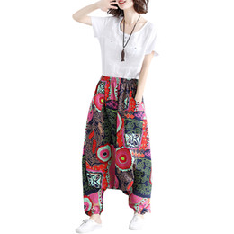 d78c6d864cb0 Vintage Women Harem Pants Geometric Print Elastic Waist Wide Leg Trousers  Baggy Loose Summer Cotton Linen Bohemian Pants 2019