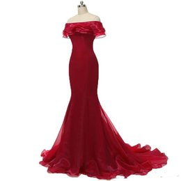 $enCountryForm.capitalKeyWord UK - 2019 Sexy Red Bateau Mermaid Formal Evening Dresses With Ruffles Organza Floor-Length Plus Size Prom Party Celebrity Gowns