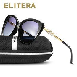 04aa7f3d680 Designer Sunglasses Pearls NZ - ELITERA Fashion Butterfly Pearl Sunglasses  Women Mirror Polarized UV400 Sun Glasses