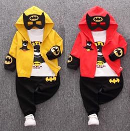 Boys Batman Pants Australia - Autumn Baby Clothing Sets Batman Children Tracksuit kids clothing suit boys Hooded Coat T Shirt Pants 3 PCS set