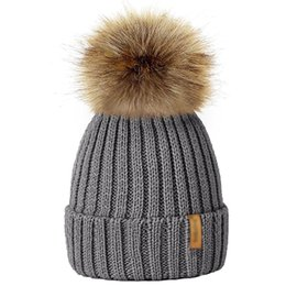 c5dc504f5a2 Parents Kids Winter Knitted Beanie Hat Warm Faux Fur Pom Pom Women Men Caps  Autumn Baby Boy Girl Unisex Hats Skullies 9 Colors