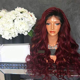 Burgundy Full Lace Wigs Australia - Ombre Burgundy Full Lace Peruvain Remy Hair Wigs with Black Roots Wine Red 1b 99j Body Wave Wigs for Black Women Free shipping