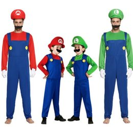 halloween cosplay super mario bros costume for kids and adults funny party wear cute mario luigi set clothes romper hat beard kka5689 - Funny Christmas Hats Adults
