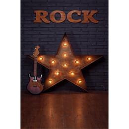 child guitars 2019 - Black Brick Wall Photography Backdrop Wood Floor Printed Star Decor Guitar Rock Theme Baby Kids Singer Children Photo Ba