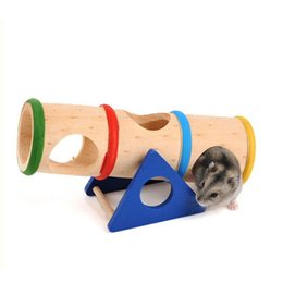 small wood house UK - Beautiful Hamster Toys Small Pet Supplies Hamster Nest House Cage Supplies Wood colorful Wood House Small Animal Mouse Toys