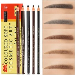 cheap wholesale mixed makeup UK - Professional Hengsi 1818 Eyes Makeup Waterproof Eyebrow Pencils Black Brown Natural Eye Brow Pen Cheap Make Up