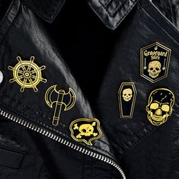 Discount pirate accessories - 6PCS SET Pins and brooches Skeleton Skull Anchor Pirate Pin Set Hard enamel pin Brooches Badges Backpack Bag Hats Access