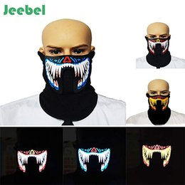 glow party clothes 2019 - Jeebel LED Masks Clothing Big Terror Masks Cold Light Helmet Fire Festival Party Glowing Dance Steady Voice-activated Mu