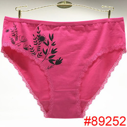 53435ccad Large Size Underwear Briefs Mature Women Panties Lace Trim Cotton Fancy  Sexy Panties for Women