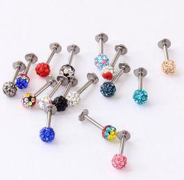 Black Lip Jewelry Canada - 24pcs Wholesale Fashion Lip Ring Labret Ring body Piercing Jewelry Tragus Earring Helix Full Rhinestone Labret FULL Crystal Gems