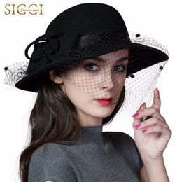 black fedora fashion women 2019 - SIGGI 100% Wool Felt Hat Women Vintage Fedoras Autumn Winter Fashion Handmade Beads 88352 cheap black fedora fashion wom