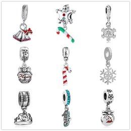 O envio gratuito de presente de natal sino encantos floco de neve pulseira pingente fit pandora encantos das mulheres dos homens diy pulseira de jóias zy011 venda por atacado
