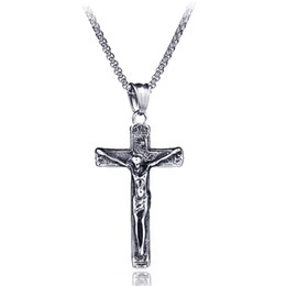 Chinese  Vintage Punk Titanium Steel Cross INRI Crucifix Jesus Piece Pendants Necklaces for Men Rock Jewelry High Quality Never Fade manufacturers