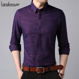 $enCountryForm.capitalKeyWord Canada - 2018 Fashion Brand Shirts Mens Korean Purple Slim Fit Streetwear Long Sleeve Retro High Quality Stripe Casual Mens Clothes