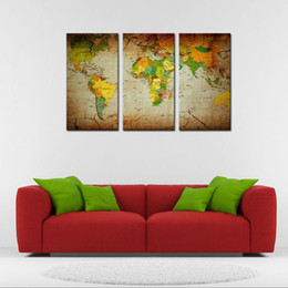 Discount world map canvas oil painting world map canvas oil world map canvas oil painting 2018 moco art 3 pieces world map canvas painting world gumiabroncs Image collections