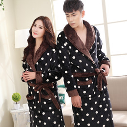 Polka Dotted Shirt For Men NZ - Polka Dot Print Couple Bathrobe Dressing gowns Autumn Winter Thick Warm Flannel Lovers Bath Robes For Women Men Home Clothes