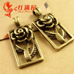 Cheap Accessories Charms NZ - A3759 12*26MM Antique Bronze Jewelry accessories wholesale Rose Pendant flower charm metal tag, fashion cheap zinc alloy charms CHina