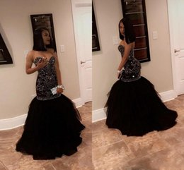 online shopping 2018 Sparkly Crystal Beading Mermaid Prom Dresses Sweetheart Tulle Black Gold Evening Party Gowns African Black Girl