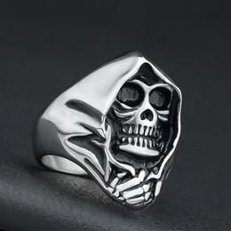 $enCountryForm.capitalKeyWord NZ - Mens Jewelry Vintage Stainless Steel Gothic Punk Skull Biker Mens Halloween Black Silver - By Mate Rings Size 7-14#