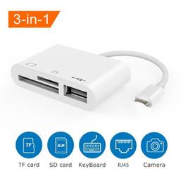 Lector de tarjetas 3 en 1 Lightning a USBSD / TF Cable adaptador multifunción OTG para iPhone SE 5 6 7 8 iPhoneX iPad ios Lectura rápida desde el teléfono en venta