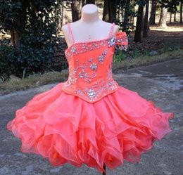 cupcake kids 2019 - Lovely Mini Short Girl's Pageant Dresses 2019 Crystals Beaded Organza Zipper Back Flower Girl Dresses Cupcake Kids