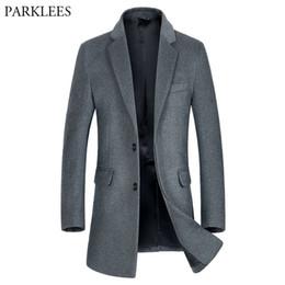 $enCountryForm.capitalKeyWord NZ - Luxury Wool Trench Coat Men 2018 Winter New Men's Long Wool Pea Coat Overcoat Slim FIt &Blends Brand Manteau Homme 3XL