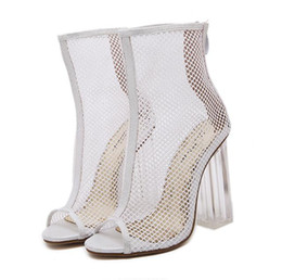4d3e8a670f87 chic white meshy wedding shoes hollow out transparent crystal thick heels  shoes women summer sandals black size 34 to 40