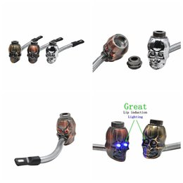 $enCountryForm.capitalKeyWord NZ - Colorful Mini Herb Skull Head Shape Filter Smoking Pipe Bent Lip Induction Electronic lighting Great High Quality Innovative Design DHL