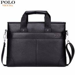 Mens Soft Leather Briefcase Canada - VICUNA POLO Promotion High Quality PU Leather Brand Mens Briefcase Classic Business Leather Men Handbags maletin cuero male