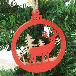 Gift Craft Christmas Ornament Australia - Red Merry Christmas Tree Ornament Wood Chip Snowman Tree Deer Hanging Pendant Christmas Decoration Xmas Good Luck Gift Crafts