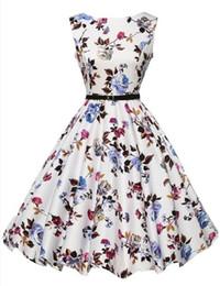 White Work Vest Canada - hot new Hepburn style Sleeveless Vest Retro 50s Waist Thin Swing Dress With Belt 4 colors