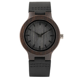 a36970a72d65 Bamboo Lady Couple Watch Handmade Wooden Quartz Clock Elegant Darkness Soft  Genuine Leather Band Lovers Valentine Watches Unique