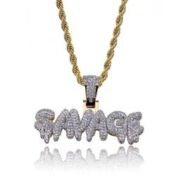 Discount gold color combinations - Hip Hop SAVAG Diamond Custom Name Combination Bubble Letter Pendant Necklace Micro Cubic Zirconia Gold Silver Color Copp