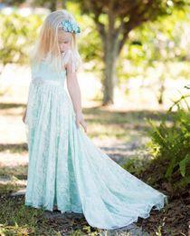 Cute Dresses Prom Color Australia - New Fashion Lace Long A Line Custom Cute Little Flower Girl Dress Floor Length Hand Made Sash Kids Prom Birthday Dress