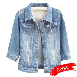 7e3b52493d7 Women Plus Size Cropped Jean Jacket Light Blue Bomber Short Denim Jackets  Jaqueta Casual Ripped Jeans Coat 3 4 Sleeve 4XL 5XL Y18110501