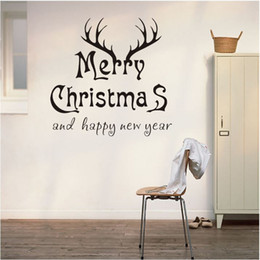 large christmas window stickers Canada - Christmas wall stickers Cartoon Christmas deer head window glass wallpapers wall decals waterproof can be removable home Festival decor