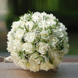 Roses cReam floweR online shopping - 2018 New Foam Wedding Bouquets Satin Artificial Cream Roses Brooch Bridal Bridesmaid Bouquet Posy for Country Beach Wedding CPA1541