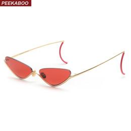 01344f4aad Peekaboo rojo retro cat eye sunglasses mujeres medio marco 2019 hombres moda  gafas de sol para mujer pequeño uv400 metal