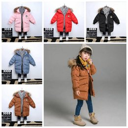 28179de13cdd Boys Girls Hooded Down Jacket big Kids Down Coat Winter Warm Long Styles  Outerwear Solid Children Designer Fashion Loose Clothes 3-8T YL656