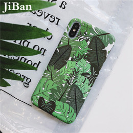 Discount banana phone cover JiBan Fashion Cool Summer Plant Banana Leaf Cases For Iphone X Case For iphone 6s 7 8 Plus Hard PC Back Phone Cover Shel