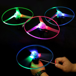 Flashing Ufo Toy Australia - kids gift toys pull wire flash luminous flying toys 25 cm 3 colors random LED light UFO children night fun