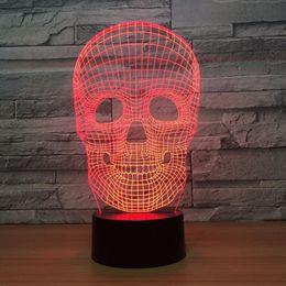 Round Skull NZ - 2018 Skull 3D Optical Illusion Lamp Night Light DC 5V USB Powered AA Battery Wholesale Dropshipping Free Shippin