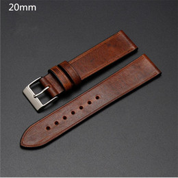 used stockings Canada - Common Used Top Grade Thin&Soft Hand made Pull-up Leather Strap 20mm Retro Brown Smooth Leather Watchband for Brands Watch Stock