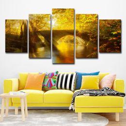$enCountryForm.capitalKeyWord Canada - Canvas Painting Modern Art Live Wall 5 Pieces Sun Shining Bridge Autumn Landscape Decoration Pictures Landscape Painting