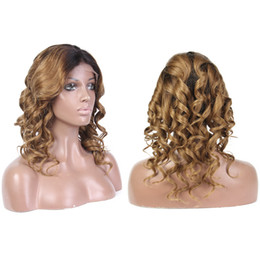 Remy human haiR shoRt wavy wig online shopping - LIN MAN Ombre b30 Full Lace Human Hair Wigs with Baby Hair Pre Plucked Hairline Remy Brazilian Short Wavy Glueless Wigs